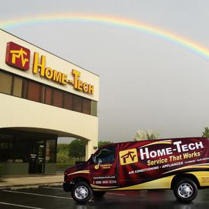 rainbow over home-tech